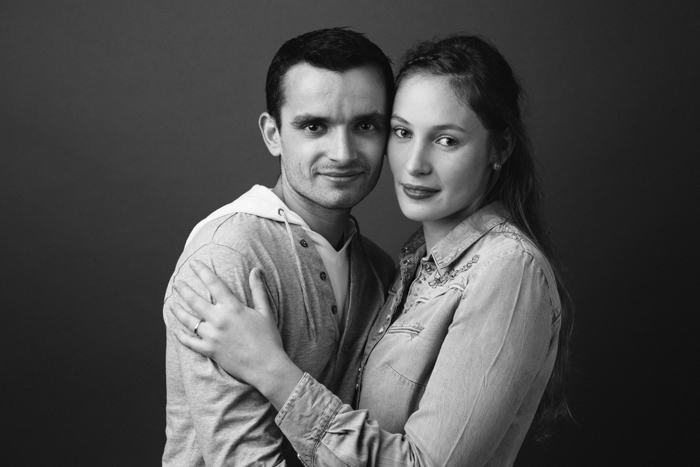 rennes portrait couple studio noir et blanc