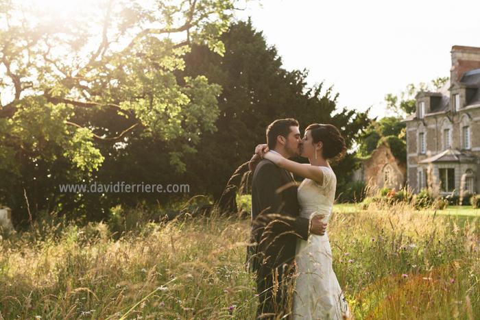 photographe photo mariage chateau du pordor avessac portrait mariage coucher de soleil