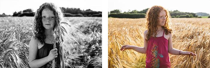 photographe rennes bretagne ille et vilaine portrait enfant champ soleil couchant ble