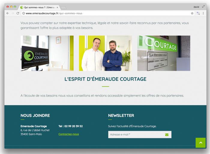 Objet : Portrait d'équipe et Illustrations pour le site internet du Client : Emeraude Courtage à Saint Malo