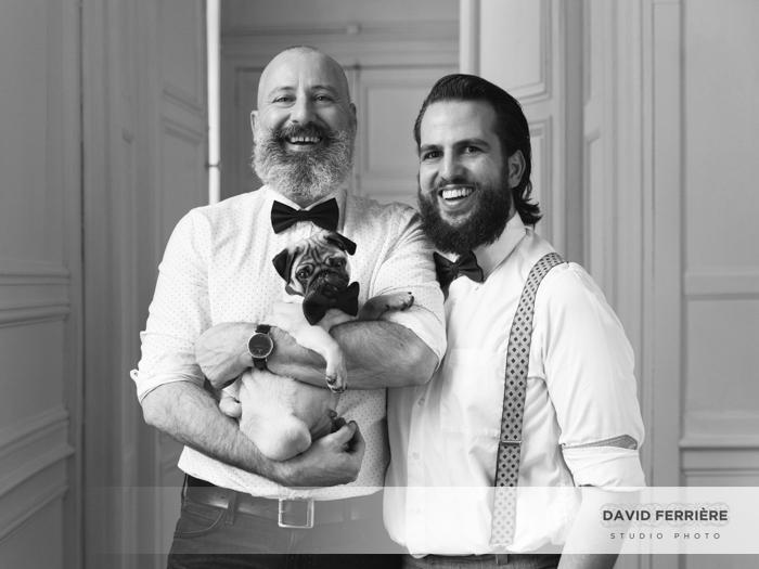 portrait studio photo couple chien pug dog carlin rennes